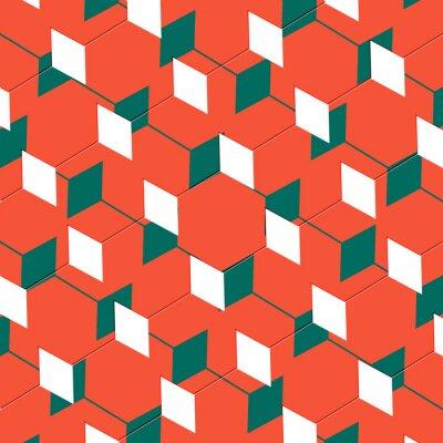Fotomural Caja abstracta de la ilusión del arte cubista en naranja y verde