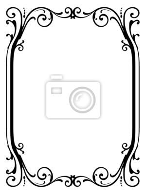Caligrafía caligrafía rizado negro marco barroco fotomural ...
