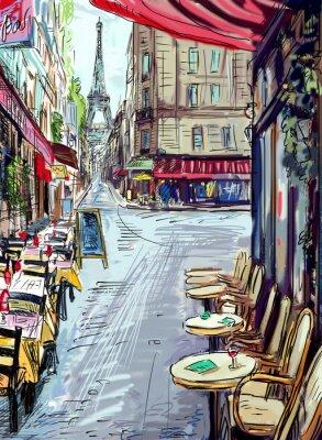 Fotomural Calle de París - ilustración