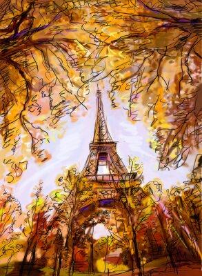 Fotomural Calle de París. Torre Eiffel - ilustración