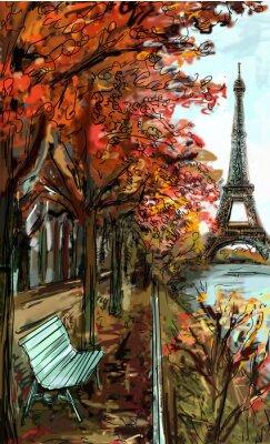 Fotomural Calle en el otoño de París. Torre Eiffel -sketch ilustración