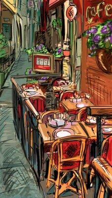 Fotomural Calle en Roma - ilustración