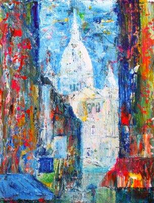 Fotomural Calle Montmartre, en París, Francia pintado por acrílico