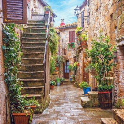 Fotomural Callejón en el casco antiguo italiano, Toscana, Italia