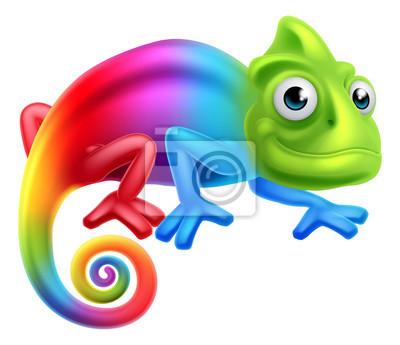 Fotomural Camaleón del arco iris de la historieta