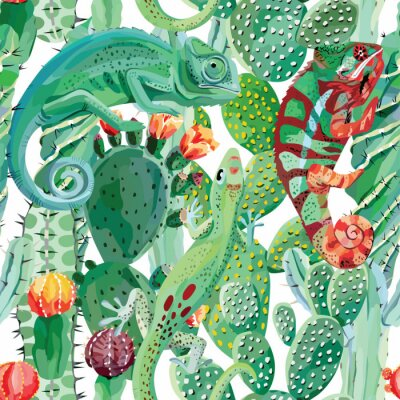 Fotomural Camaleón y cactus fondo transparente
