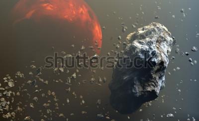 Fotomural Campo de asteroides o meteoritos en el espacio exterior, formación de planetas. Ilustración 3d