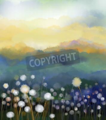Fotomural Campo de flores blancas de la pintura al óleo abstracta en color suave. Pinturas al óleo flor de diente de león blanco en los prados. Naturaleza estacional floral de la primavera con la colina azul -