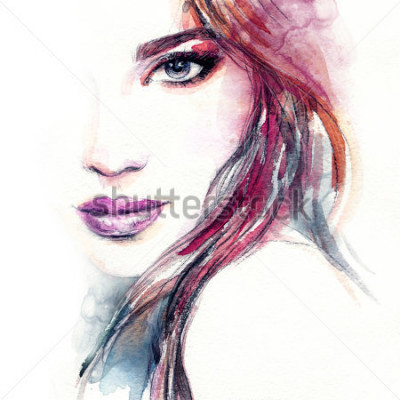 Fotomural Cara de la mujer abstracta Ilustración de moda. Pintura de acuarela
