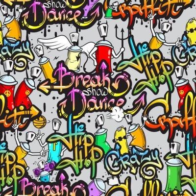 Fotomural Caracteres de Graffiti sin patrón