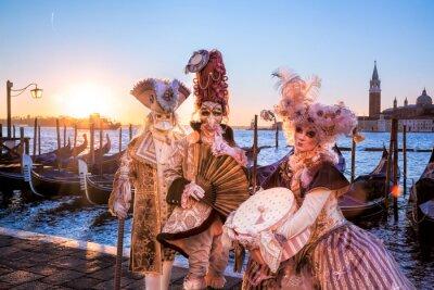 Fotomural Carnaval, máscaras, contra, salida del sol, Venecia, Italia