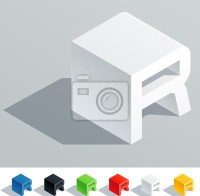 Carta de color s lido en vista isom trica letra r fotomural fotomurales pixel isom trica - Fotomurales pixel ...
