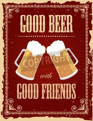 Fotomural Cartel de la cerveza de la vendimia con efectos del grunge.