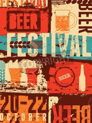 Fotomural Cartel del grunge del estilo del vintage del festival de la cerveza. Ilustración vectorial retro.