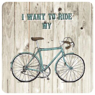 Fotomural Cartel dibujado a mano bicicleta vintage