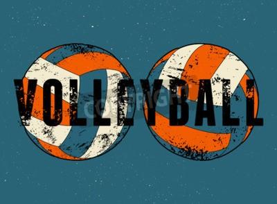 Fotomural Cartel tipográfico del estilo del grunge del vintage del voleibol.