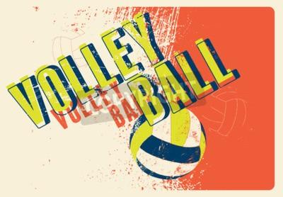 Fotomural Cartel tipográfico del estilo del grunge del vintage del voleibol. Ilustración vectorial retro.