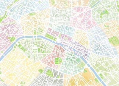 Fotomural Cartina Parigi, disegnata a mano, pennellate, strade y vie, Francia