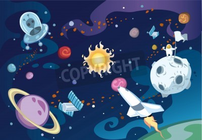 Fotomural Cartoon galaxy scene featuring spaceship, aliens, sun and the solar system, and an astronaut.