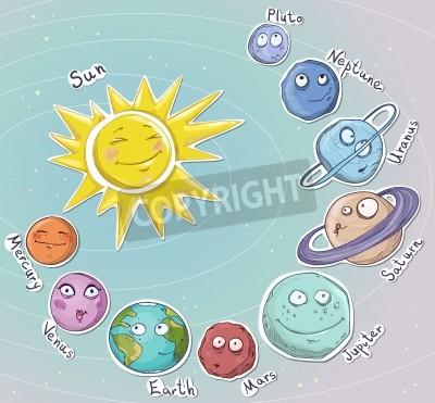 Fotomural Cartoon planetas del sistema solar ilustración vectorial
