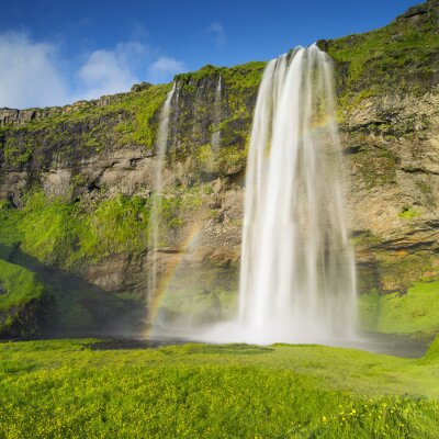Fotomural Cascada y arco iris en Islandia