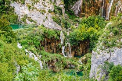 Fotomural Cascadas en Parque Nacional de los Lagos de Plitvice, Croacia