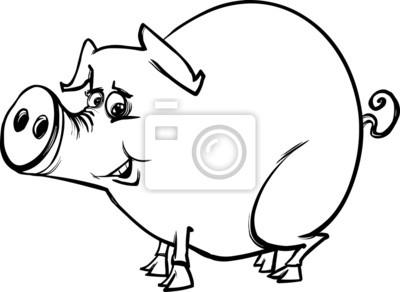 Fotomural Cerdo De Granja Para Colorear De Dibujos Animados