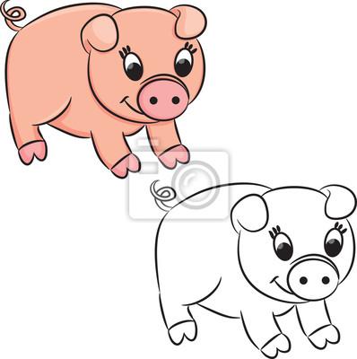 Cerdo de la historieta. libro para colorear. ilustración del ...