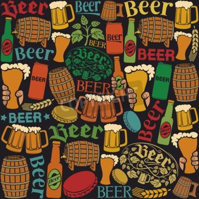 Fotomural Cerveza iconos patrón sin fisuras fondo de cerveza, hojas de lúpulo, rama de lúpulo, barril de madera, vaso de cerveza, lata de cerveza, tapa de botella, taza de cerveza, cerveza botellas de cerveza