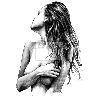 Fotomural chica desnuda plantea dibujos vectoriales dibujo blanco y negro monocromo