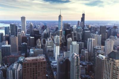 Fotomural Chicago cityscape céntrico con rascacielos, aérea o vista de pájaro-ojos, día nublado. Illinois, Estados Unidos.