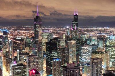 Fotomural Chicago vista aérea urbana al atardecer