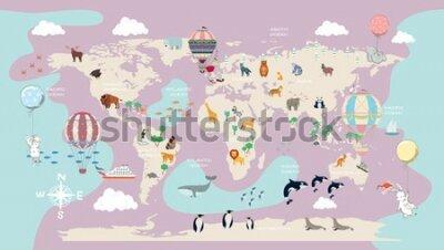 Fotomural children's world map for the interior