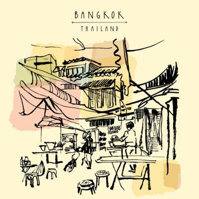 Fotomural China ciudad en Bangkok, Tailandia. Los puestos de comida, mesas, taburetes. Gente que compra comida china en un simple café de la calle. Postal cosida mano vertical del vintage. Ilustración del vecto