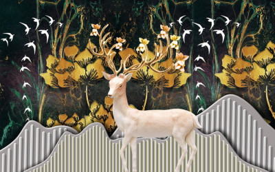Fotomural christmas background with deer