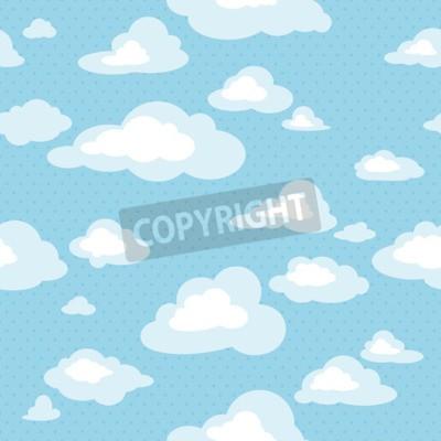 Fotomural Cielo azul con nubes, patrón de vectores sin fisuras