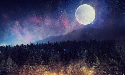 Fotomural Cielo estrellado y luna. Medios mixtos