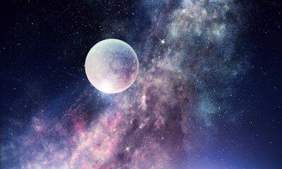 Fotomural Cielo estrellado y luna. Técnica mixta