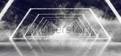 Fotomural Ciencia ficción Moderno Futurista Oscuro Vacío Humo y niebla Hormigón enlosado Alien Túnel Corredor con resplandor blanco Superficie reflectante Fondo elegante Representación 3D Ilustración