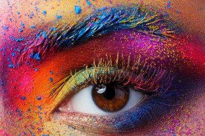 Fotomural Cierre de vista del ojo femenino con mak brillante de moda multicolor