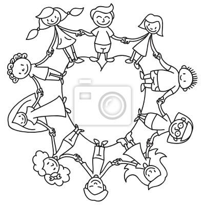 Círculo de los niños, corazón, colorear fotomural • fotomurales ...