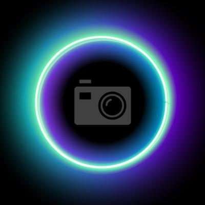 Círculo de neón. luz azul de neón. marco eléctrico. marco de ...