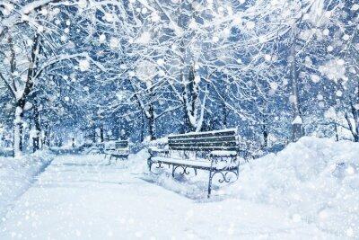 Fotomural Ciudad cubierto de nieve