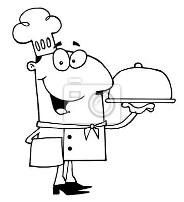 Clipart ilustración de un chef sirviendo con contorno fotomural ...