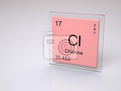 Fotomural Cloro   Símbolo Cl   Elemento Químico De La Tabla Periódica