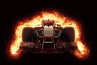 Fotomural Coche de carreras 3D con efecto de explosión ardiente