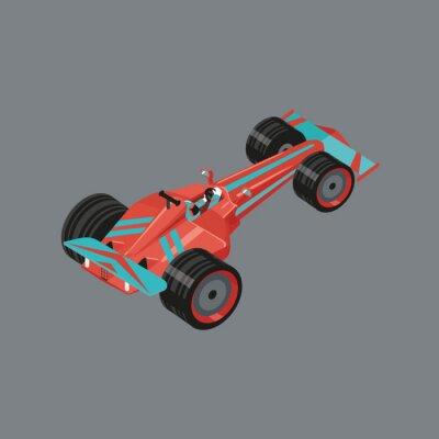 Fotomural Coche deportivo isométrico. Aislado vector de dibujos animados de automóviles para las carreras. Automóvil deportivo rojo con un corredor dentro.