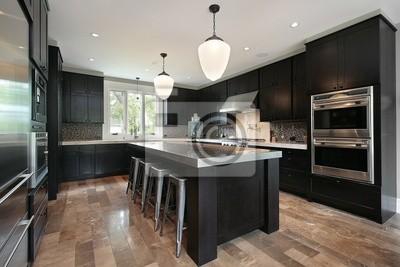 Cocina con muebles de madera oscura fotomural • fotomurales ...