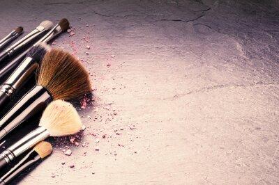 Fotomural Colección de pinceles profesionales de maquillaje