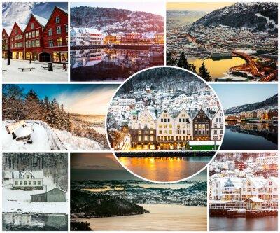 Fotomural Collage de invierno y atracciones en Bergen